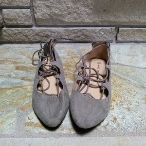 abbe212c559 Wet Seal Shoes - Wet Seal taupe faux suede lace up ballet flats